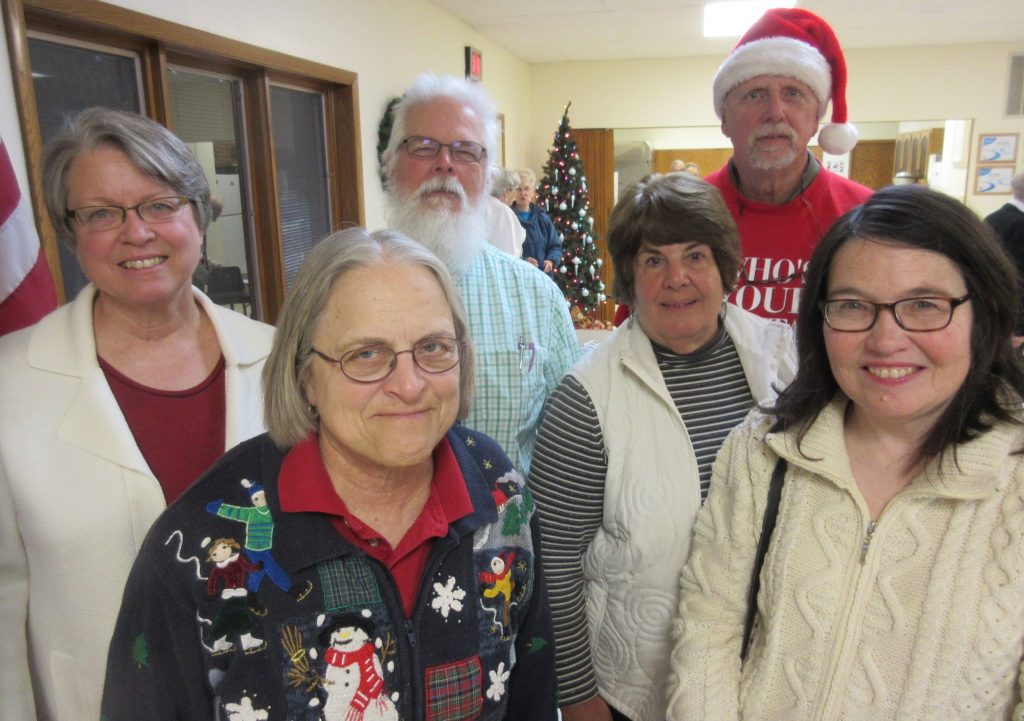 Greene County Historical Society officers for 2017 are (left to right) past-president Ces Brunow, vice-president & program director Nancy Hanaman, president Dale Hanaman, treasurer Becki Cunningham, executive director Roger Aegerter, and secretary Margaret Hamilton. Elections of the officers and board members were held at the year-end society meeting on Friday, Dec. 2, at the Greenewood Center in Jefferson.