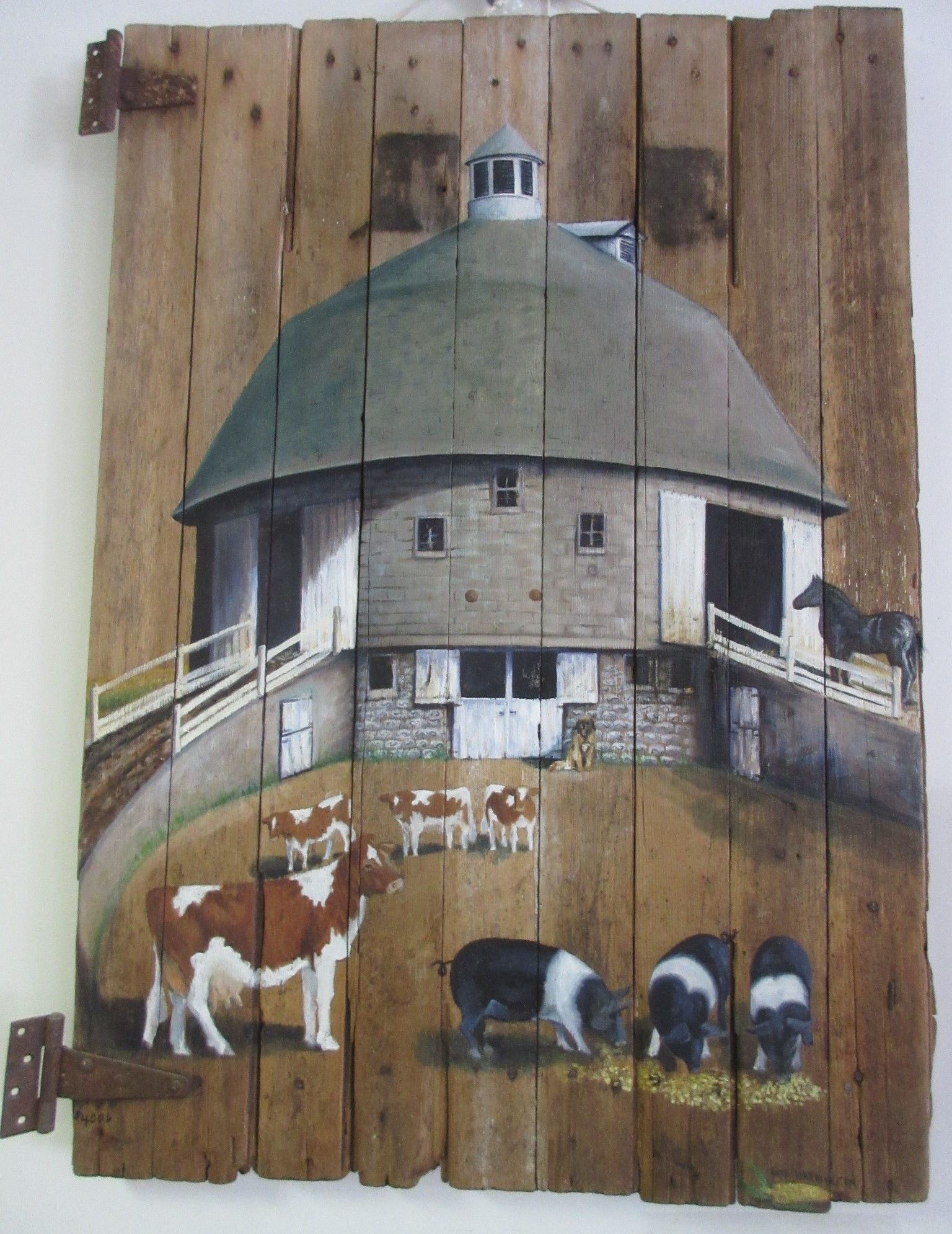 "There is so much to see, learn and experience in our Greene County Historical Museum in Jefferson -- including some first-rate art.  Recently we were browsing when we noticed again this 1997 painting by Gina Coon Harrington, of Jefferson, portraying the ""Frantz Round Barn,"" which was built in 1910 and '11 on the Frantz farm northeast of Grand Junction. The exceptional painting was done on a barn door salvaged when the historic concrete block structure collapsed in a dangerous wind storm in October, 1996. Stop by the museum to read more about the barn. Click here to view full image"