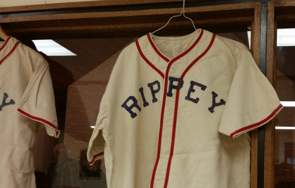 A classic Rippey High School baseball jersey, made of wool.