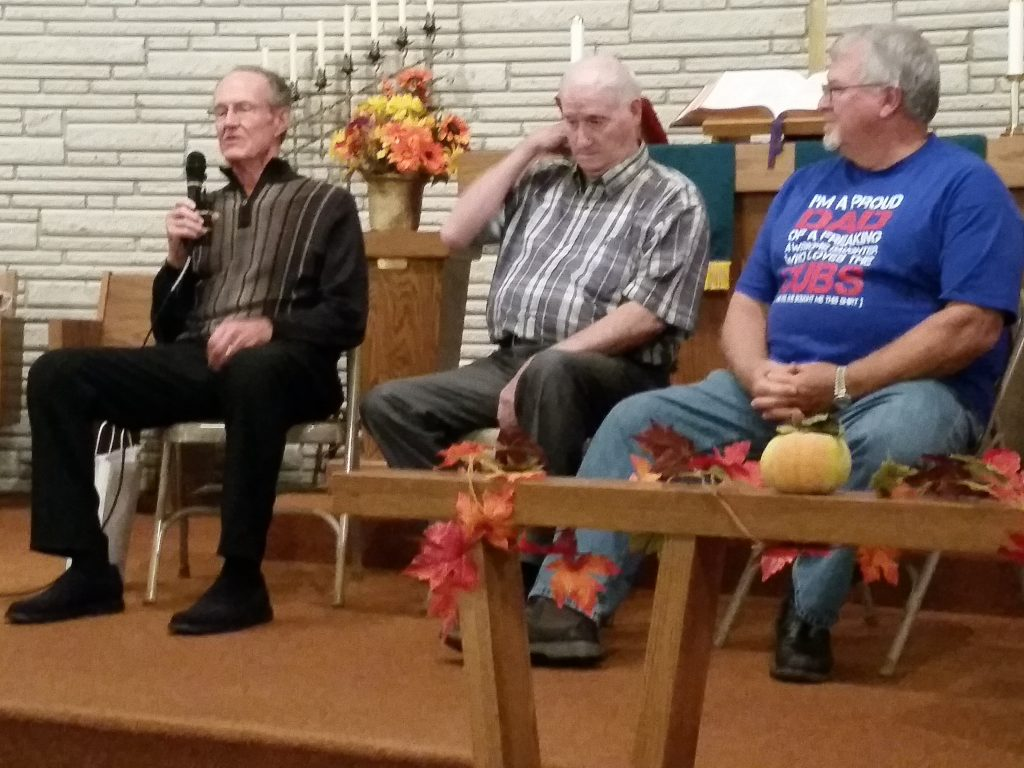 Lester Zanotti, Dan Peters and Ron McNeill (left to right), all of whom have deep roots in Rippey baseball history, told stories and answered questions when the Greene County Historical Society met at the United Methodist Church in Rippey on Friday, Oct. 7. Zanotti and Peters were two of the best Rippey High School players in the 1950s, and also played on the Rippey Merchants town team. McNeill was a principal and coach at the former East Greene High School, which served Rippey, Grand Junction and Dana. (Photo by Nancy Hanaman)